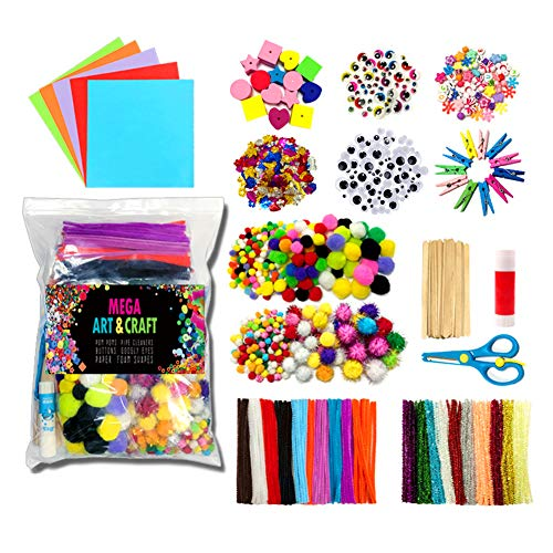 1200Pcs DIY Art Craft Sets Supplies for Kids Pipe Cleaners Crafts Set Assorted Arts and School Crafting Materials Supply Kit