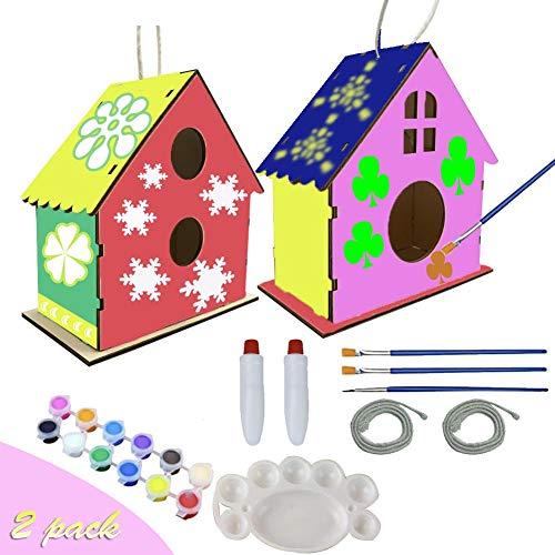 2PCS DIY Bird House Kids Craft Kit Painting Puzzle Art Wood Toys for Children