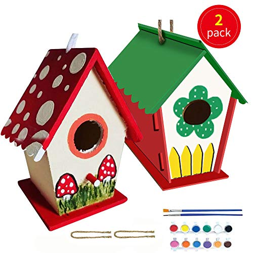 caiyuanggUS Crafts for Kids 2 Pack DIY Bird House Kit – Birdhouse to Paint and Decorate Arts Wooden Toddlers