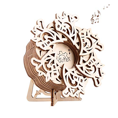3D Wooden Puzzle Flower Music Box Mechanical Model Craft Kit for Teens and Adults DIY Assembly Toy Birthday Gift Desk Home Decoration