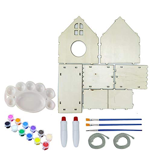 Bird House Kits for Kids Painting Kit 2PCS DIY Puzzle Art Craft Wood Toys Children