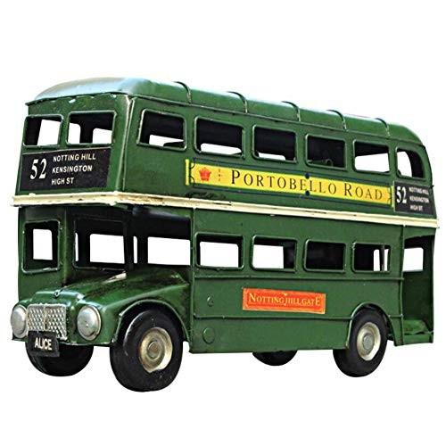 HKDJ-Retro Bus Car ModelDouble Decker Iron Crafts HandmadeVehicle Toys for Kids BoysFestival Creative Gift289155CM
