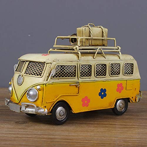 HKDJ-Creative Painted Bus Car Model/Children's Toy VehicleBar Table DecorationFestival Creative Gift17710CMYellow