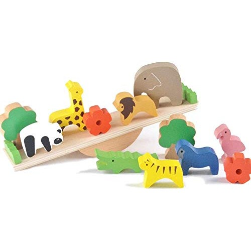 LAL6 Educational Toys Baby Cute Forest Animal Weigh Wooden Building Blocks Balance Wood for Children Creative Assembly