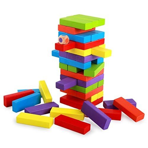 HZ-yifu Jenga Classic Game Tumbling Timber Fun Educational Toys Wooden Block Stacking Games and Building Blocks for Kids Colored 6 Colors Dice