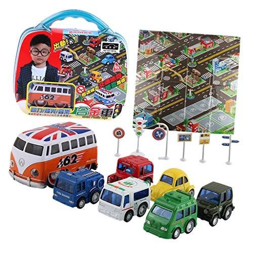 Tongina 7pcs/Set Plastic Toy Vehicles Bus Milk Car Truck Car Model Set Role Play