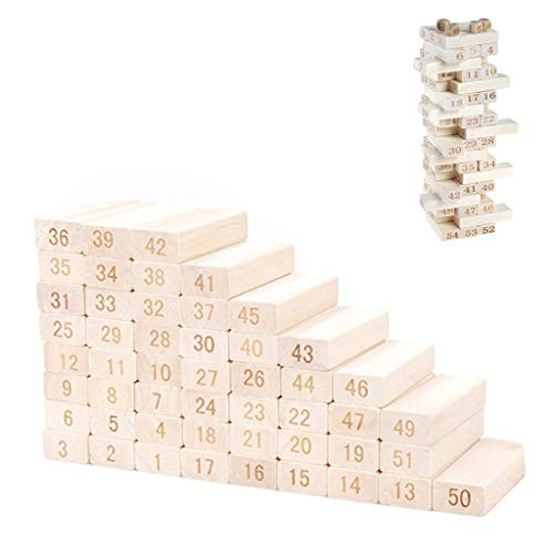 HZ-yifu Wooden Blocks Toys for Toddlers Educational and Fun Building Kids Family Games Premium Wood Tumbling Timber Tower