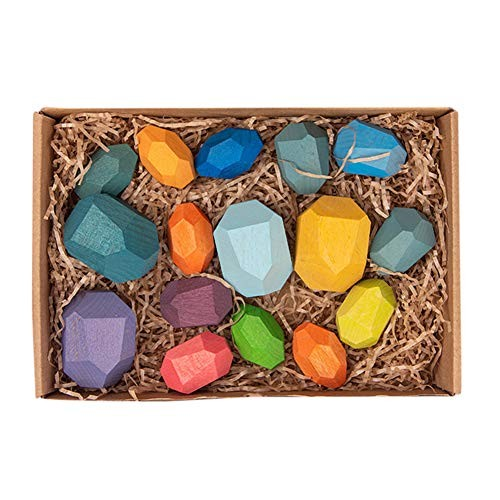 Mallyu Home Decoration Children's Wooden Colored Stone Building Block Educational Toy Stacking Game