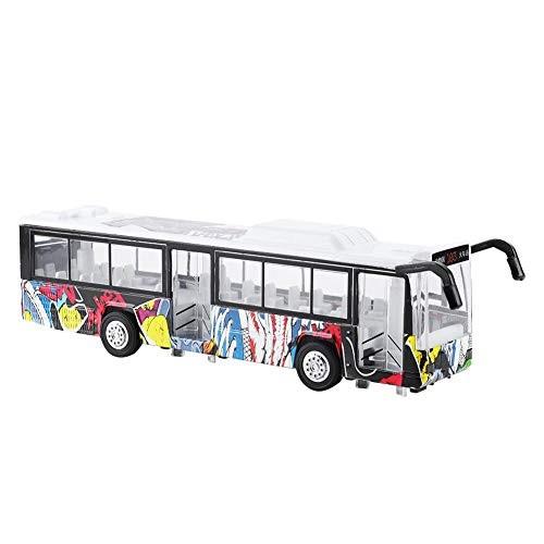 Bicaquu Bus ToySimulation Alloy Bus Vehicle Model Pull-Back Car with LED Light Children Kids
