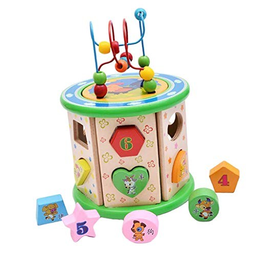 LoveinDIY Wooden Intelligence Beads Building Blocks Kids Children Shape Colorful Toy
