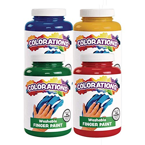 Colorations Washable Finger Paints 16 Fluid Ounces oz Set of 4 Colors Non-Toxic Creamy Vibrant Kids Paint Craft Hobby Fun Art Supplies Young Painting Hand