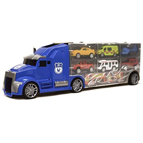 Toy Truck Transport Car Carrier Toy Hauler Truck Ideal Gift 11 in 1 Blue