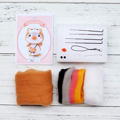 xISAOK Penguin Dog Wool Felt Craft DIY Unfinished Poked Set Handcraft Kit Material Bag
