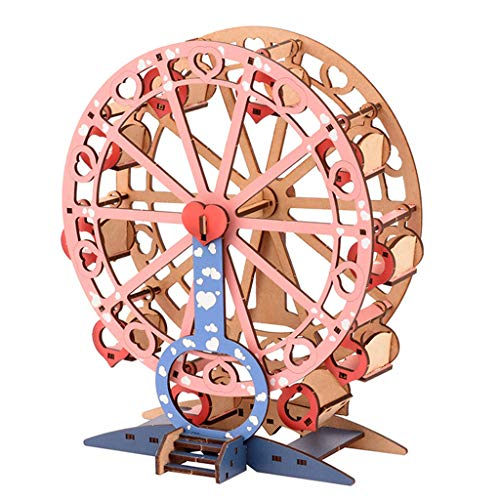 loweyuiroy 3D Wooden Puzzle Toys DIY Model Self-Assembly Handicraft Wheel Toy for Kids Adults Entertainment Art Craft Home Decor Kits