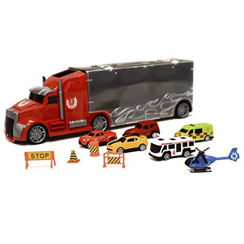 WGS 11 in 1 Die Cast Construction Truck for Kids Big Rig Vehicle Carrier