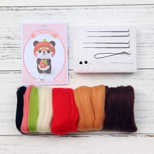 xISAOK Bear Dog Wool Felt Craft DIY Unfinished Poked Set Handcraft Kit Needle Material