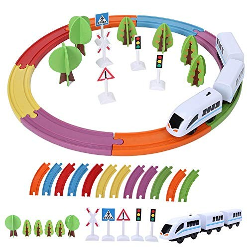 Bicaquu Train ToyChildren Wooden Electric Magnetic Building Construction Block Track Toy 01