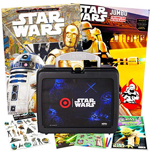 Star Wars Lunch Box Travel Activity Set ~ Thermos Lunchbox with Coloring Book Jumbo Stickers and More for Kids Star Bundle