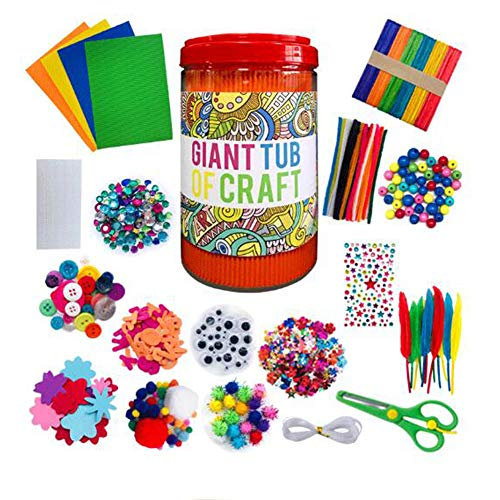Maius Assorted Arts and Crafts DIY Kit for Kids Art Craft Supplies Pipe Cleaners Chenille Stem Pompoms Sticks School Projects Activities