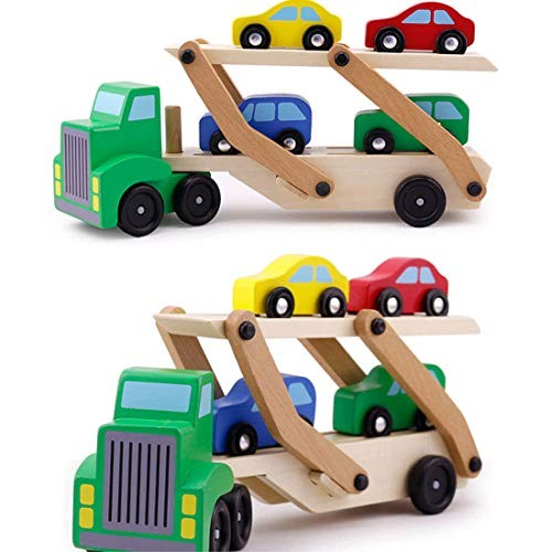 TPSKY 1 PCS Wooden Double Decker Car Carrier Truck and Car Wooden Toy Set