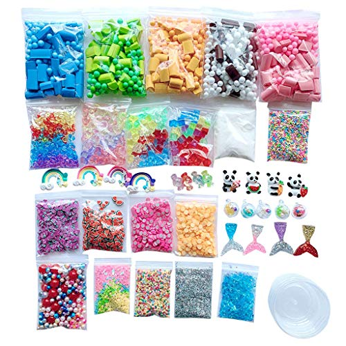 RED-Rainbow DIY Slime Kit for – Making Arts Crafts Kits Supplies Include Foam Beads Balls 48 Mystery Box Containers Multicolor