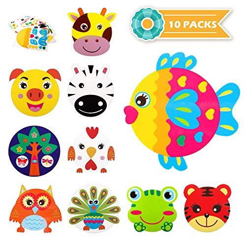 Originalidad 10Pcs Animal Paper Plate Art Kits for Kids – DIY 3D Animals Craft Sticker Card Project Teaching Supplies Preschool Toddler Boys Girls
