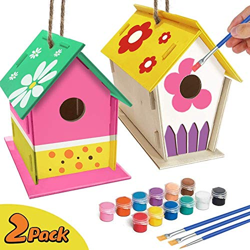 Crafts for Kids Ages 4-10 – 2 Pack DIY Bird House Kit Build and Paint Birdhouse Includes Paints & Brushes – Wooden Arts Toddlers 4-6 7-10 Design Your Own Birdhouses