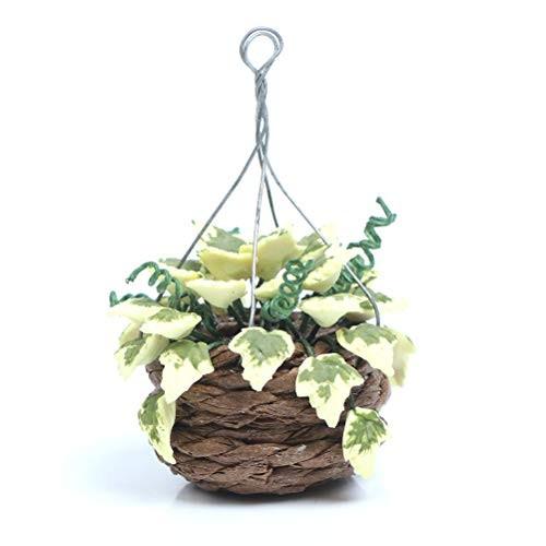 CoscosX 1 Pack Dollhouse Mini Bonsai Scene Artificial Hanging Plants Miniatures Potted Plants Simulation