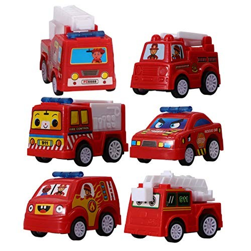 NUOBESTY 6pcs Mini Fire Truck Car Toys Kids Toy Cars Playset for Kids Toddlers