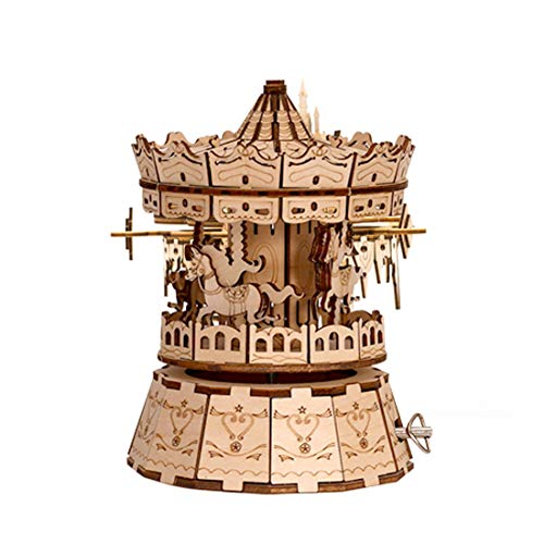 YIFAN 3D Wooden Puzzle Music Box Building Kit for Kids Adult Mechanical Gears Assembly with Craft Model Birthday Gifts Boys Girls