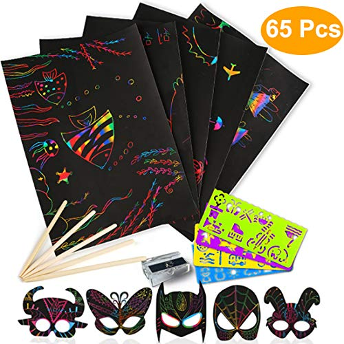 Scratch Paper Art Set for Kids – 65 Pcs Rainbow Magic Off Arts and Crafts Supplies Kits Sheet Pack Children Birthday Game Party Favor Christmas Easter Craft Gifts