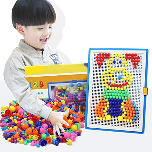 Mxueei for Kids 296 Pcs Mushroom Nail Puzzle Building Blocks Pegboard Early Education Children's Toys DIY Mosaic Colourful Jigsaw Toy