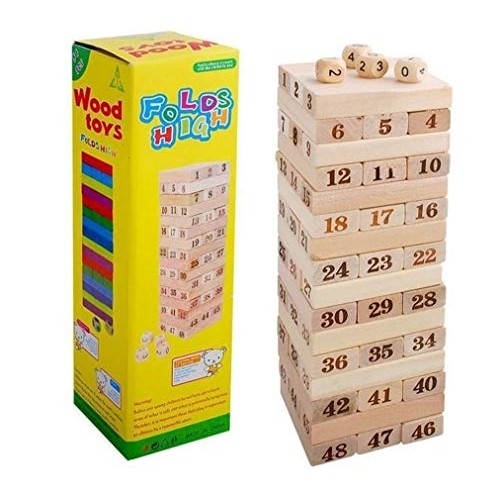 Nologo Safe Large Wooden Layer Stack 48 Digital high Piles of Wood Color Blocks Children's Educational Toys