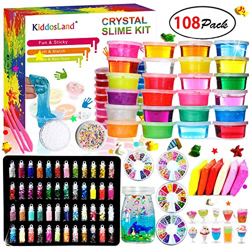 Kiddosland Slime Kit Bundle – Kits for Toys with 48 Glitter PowderClear Supplies Kids Art CraftUnicorn Gifts Party Featival Inclusive Making