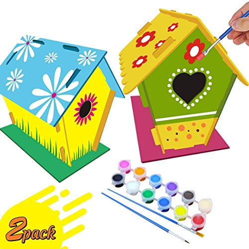 TFNKSF Crafts for Kids Ages 4-10 – 2 Pack DIY Bird House Kit Build and Paint Birdhouse Includes Paints & Brushes – Wooden Arts Toddlers 4-6 7-10 Design Your Own Birdhouses