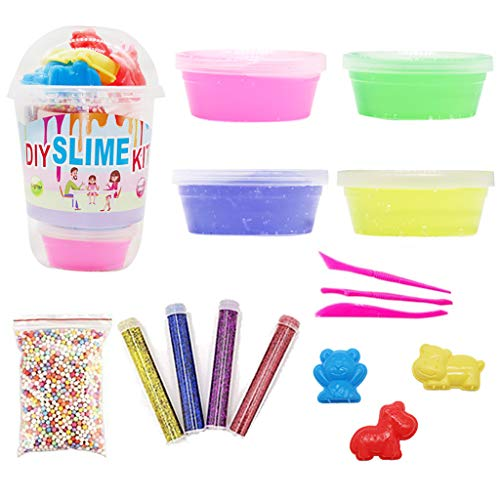 RED-Rainbow DIY Slime Kit for Making Art Craft – Kits Supplies Include Big Foam Beads Balls Mystery Box Containers Filled Crystal Powder Glitter Sequins A