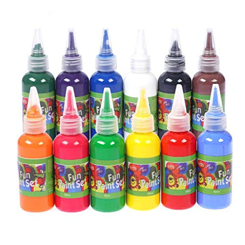 RICH-Po Kids Paint Set Tempera Paint12 Pack Colors Washable for Craft Liquid Fresco – Safe and Non-Toxic Poster 12PC-30ML