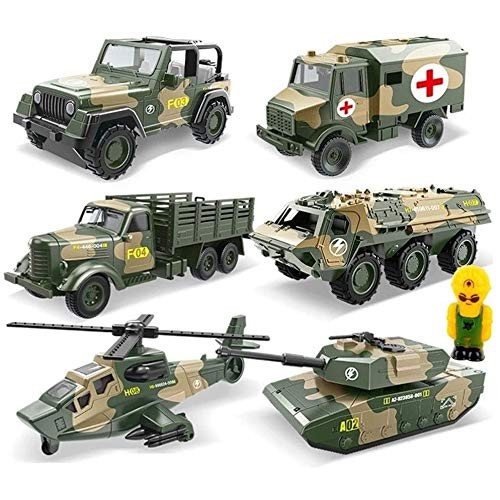 Zhangl 6Pcs Construction Vehicle Toy Car SetEducational Military Truck 6 Pcs Fire Truck Toy