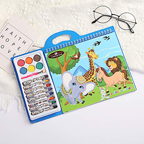 3D Coloring Books for Kids are Ages 3-7 Years Old with 6 Washable Watercolors Paint Set and 8-Color Crayons Art Activities Kids-Coloring Drawing Painting Animal World