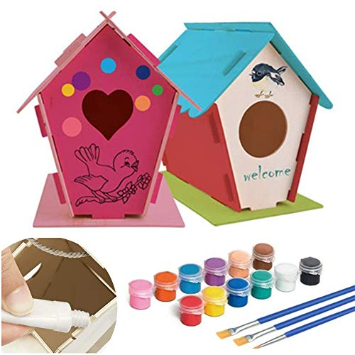 ompait Crafts for Kids Ages 4-8 DIY Bird House Kit – Build and Paint Birdhouse Includes Paints & Brushes Wooden Arts Toddlers 3Above 4 Years Old