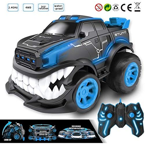BiBiblack Remote Control Toy CarRC Stunt Inverted and 360 Rotation Shark Angry Style for