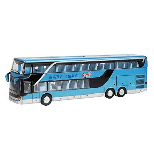 Bicaquu Car Toy Play Set Electric 1:50 Alloy Double-Deck Bus Model Toy Pull Back