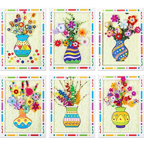 Jetec 6 Pieces Flower Button Craft Kit for Kids Fun DIY Bouquet Handmade Art Supplies