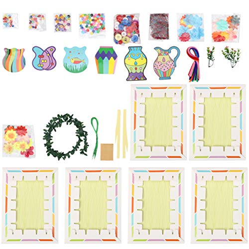 6 Set Kids Craft Kits Handmade Button Flower Toys Early Educational