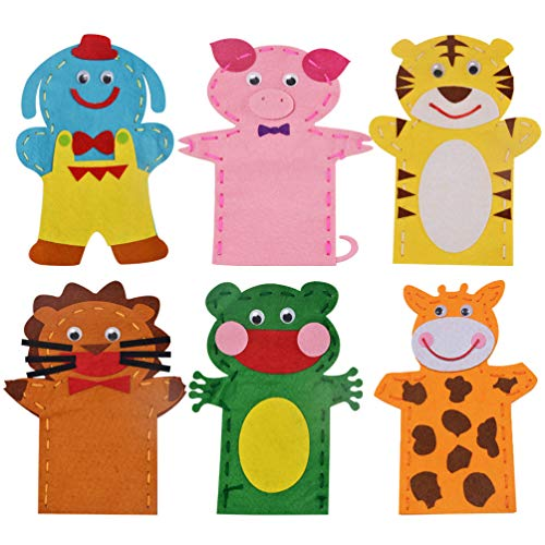 ARTIBETTER Hand Puppet Sewing Kits Felt Socks DIY Making Kit for Kids Arts Craft Project Educational Toys 6pcs Assorted Color