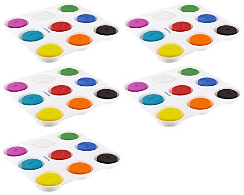 Sax Non-Toxic Giant Tempera Paint Cakes with Tray – 2 1 4 x 3 4 inch Set of 9 Assorted Colors 402321 Pack 5