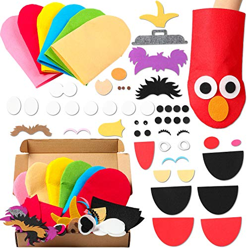 GROBRO7 6Pcs Sesame Hand Puppet DIY Thick Felt Craft Kit Creative Make Your Own Puppets Interesting Role Play Party Supplies for Making Kids Art Box Included