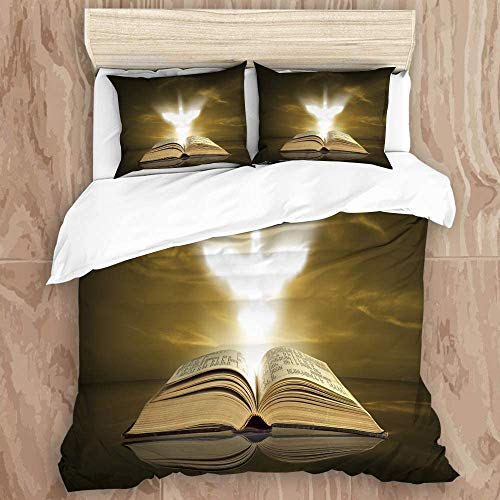 AxEDENRRT Twin Duvet Cover Decorate Girls Bedding Sets Blue Pentecost The Holy Spirit Appears Over Bible Christian Dove Nature Book – All Season for Boys Zipper Closure