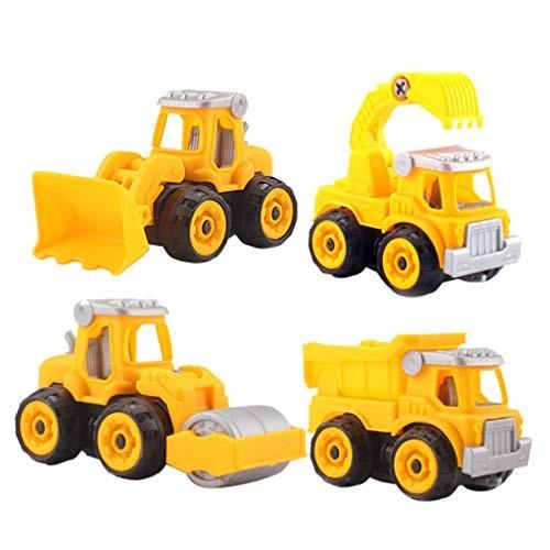TOYANDONA 4pcs Construction Trucks Toys Mini Construction Vehicles Take Apart and Assembling Toys Car