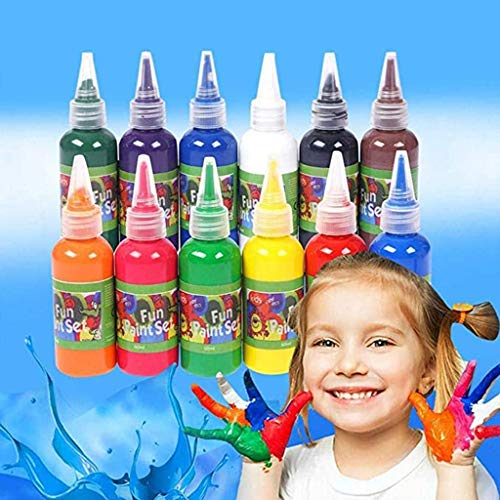 12 Color 60ml Finger Paint Non Toxic Washable Art Supplies DIY Crafts Painting Gifts for Toddlers Kids Children